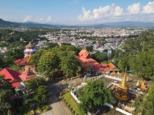 Drone Aerial View Of Wat Phra That Doi Wao Temple In The Border Town Mae Sai With A View Over Tachileik In Myanmar.