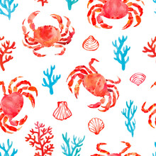 Seamless Pattern With Sea Symbols: Crabs, Corals, Shells. Hand Drawn Watercolor Illustration. Isolated On White