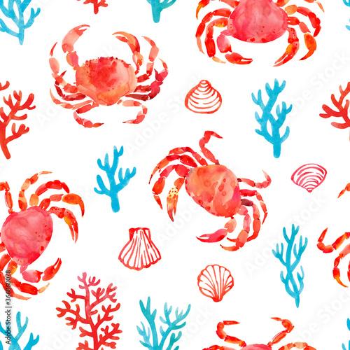 Canvas Print Seamless pattern with sea symbols: crabs, corals, shells
