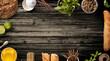 Leinwandbild Motiv Top of view on Vintage kitchen on rustic wood background. Vintage Kitchen Wood Table