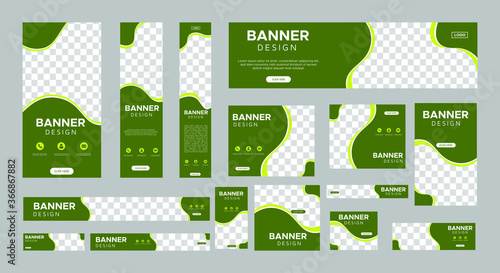 Fotografia, Obraz set of creative web banners of standard size with a place for photos