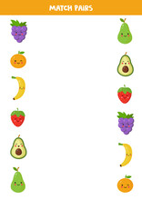 Match Pairs Of Cute Cartoon Fruits. Game For Children.