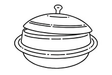 Gamasot, Or Simply Sot, Is A Big, Heavy Pot Or Cauldron Used For Korean Cooking. Vector Line Art Illustration.