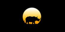 Rhino Walks In The Dark Moonli...