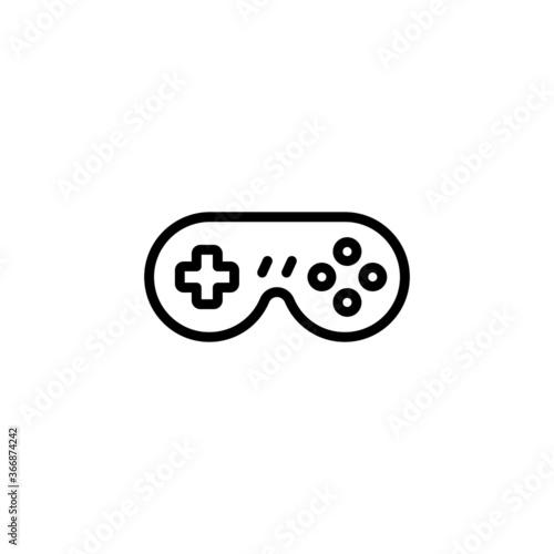 Fototapeta Retro game controller vector icon. Gamepad icon  in black line style icon, style isolated on white background obraz na płótnie