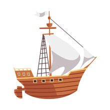 Cartoon Wooden Ship For Sea Travel With White Sails And Flag.