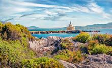 Captivating Spring View Of Saint Theodore Lighthouse. Sunny Morning Landscape Of Argostoli Vilagito Torony Nature Preserve. Beautiful Outdoor Scene Of Kefalonia Island, Argostoli, Greece.
