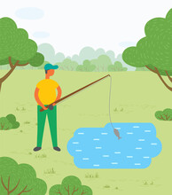 Man Standing Near Lake Or Pond With Rod. Person Fishing On Mere And Just Caught Fish Called Carp. Male Doing Hobby Outdoor. Beautiful Landscape Of Park On Background. Vector Illustration In Flat Style