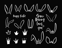 Hand Drawn Icon With Black Easter Bunny Ears Crown. Vector Doodle Illustration. Outline Kids Graphic. Bunny Ears Mask. Hare Easter Isolated Elements On Black Chalk Background.