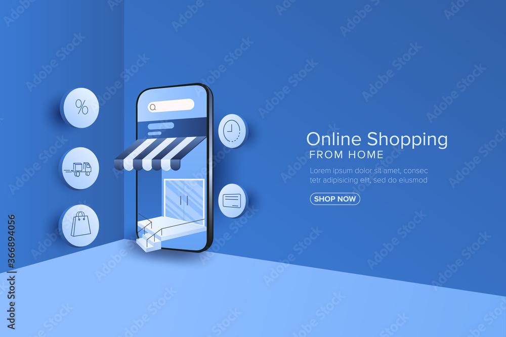 Fototapeta Online shopping on mobile application or web