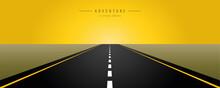 Asphalt Road Yellow Sunrise Ve...