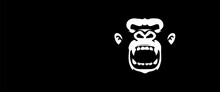 Screaming Monkey White Illustration With Black Background Gorilla Vector