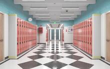 Long School Corridor With Red ...