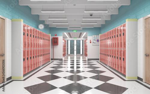 Long school corridor with red lockers , 3d illustration Fototapet