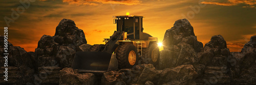 Vehicle construction at sunset. 3d rendering Wallpaper Mural