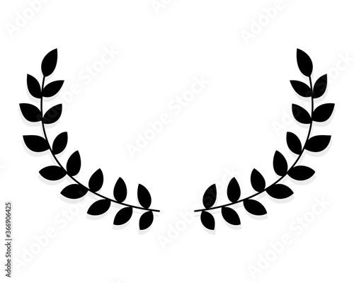 Tablou Canvas silhouette circular laurel foliate and olive wreaths depicting an award, achievement, heraldry, nobility, emblem, logo