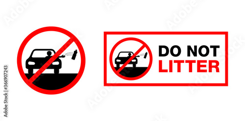 Foto Do Not Litter the roadside sign - crossed automobile driver throwing bottle from