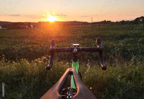 manubrio bicicletta al tramonto si campo di girasoli Canvas