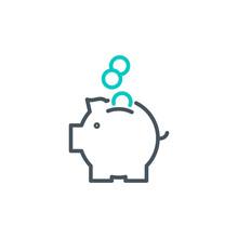 Coins Piggy Bank Outline Flat ...