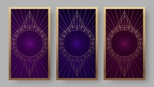 Tarot Cards Back Set With Geometric Symbols