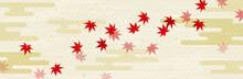 流れる秋の紅葉と和風雲背景