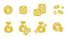 お金のアイコンのセット/硬貨/貯金/現金袋