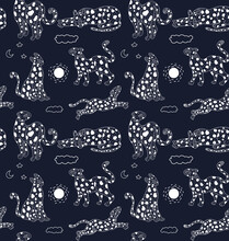 Raster Seamless Pattern With Leopards. Abstract Motifs With Shapes And Animals. Illustration Can Be Used For Wallpapers, Pattern Fills, Web Page Backgrounds,surface Textures.