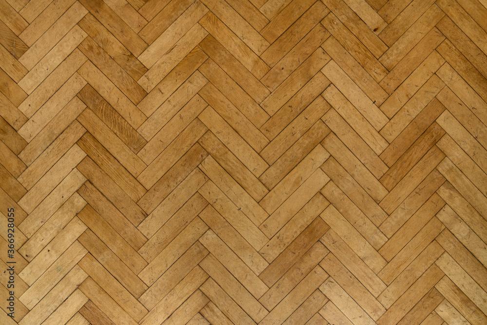 Old wooden parquet floor planks - obrazy, fototapety, plakaty