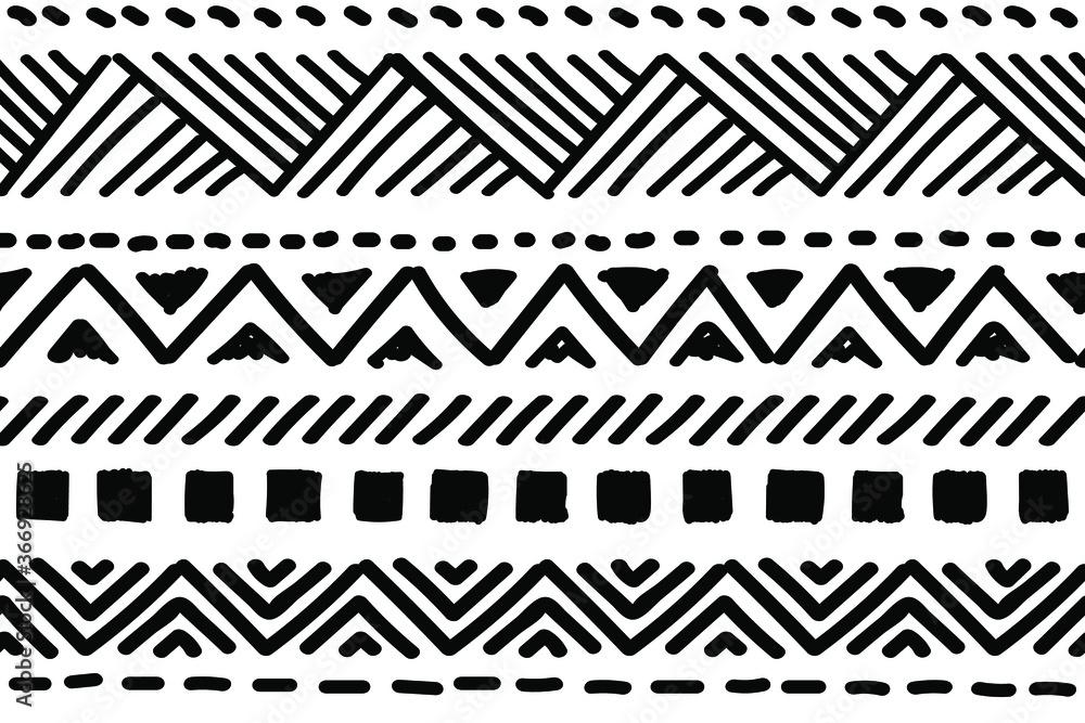 Fototapeta Ethnic vector seamless pattern. Tribal geometric background, boho motif, maya, aztec ornament illustration. rug textile print texture