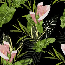 Illustration With Pink Exotic Flowers. Beautiful Seamless Background With Tropical Plants On Black. Composition With Calla Lily And Exotic Palm Leaves.