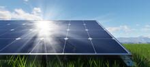 Solar Panels Array System. Photovoltaic, Clean Energy Technology