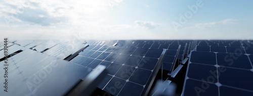 Solar panels array system. Photovoltaic, clean energy technology Fototapet