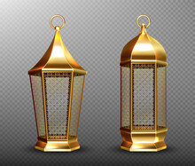 Arabic Lamps, Gold Lanterns With Arab Ornament, Ring, Place For Candle. Accessories For Islamic Ramadan Holiday. Realistic 3d Vector Vintage Luminous Shining Lights Isolated On Transparent Background