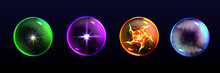 Magic Spheres, Crystal Balls Of Different Colors With Sparkles, Glow, Plasma And Mystical Fog Inside, Energy Orbs, Fantasy Globes For Witchcraft Isolated On Black Background, Realistic 3d Vector Icons