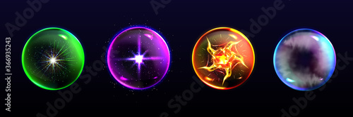 Magic spheres, crystal balls of different colors with sparkles, glow, plasma and Fototapete