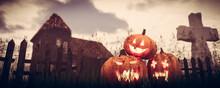 Halloween Pumpkins In Gothic S...