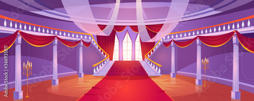 Obraz Hall interior with staircase in medieval royal castle. Vector cartoon illustration of empty hallway in baroque palace with stairs, balustrade, columns, tall windows, red curtains and carpet - fototapety do salonu