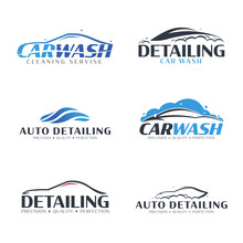 Set Of Car Wash Logos. Cleanin...