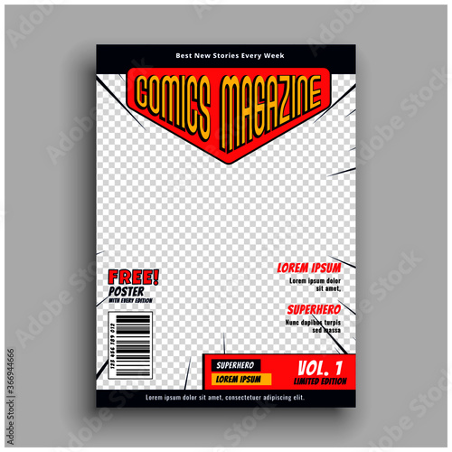 Fotomural comic magazine book front page template design
