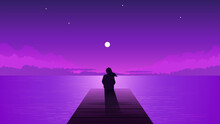 Night Silhouette Lonely Girl W...