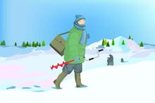 Winter Fishing, Fishermen On F...