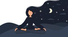 Girl In Yoga Lotus Practices M...