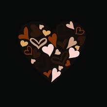 All Lives Matter Concept Illustration. Vector Hearts On Black Background. Equality Concept.