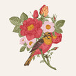 Bird and roses. Decorative element. Vintage vector illustration
