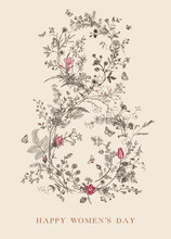 Greeting Card. Happy Women's Day. March 8. Vintage Floral Vector Element. Victorian. Retro