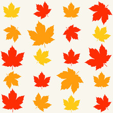 Modern Vector Flat Pattern With Autumn Maple Leaves On Light Grey Background. Fall Leaves Pattern.
