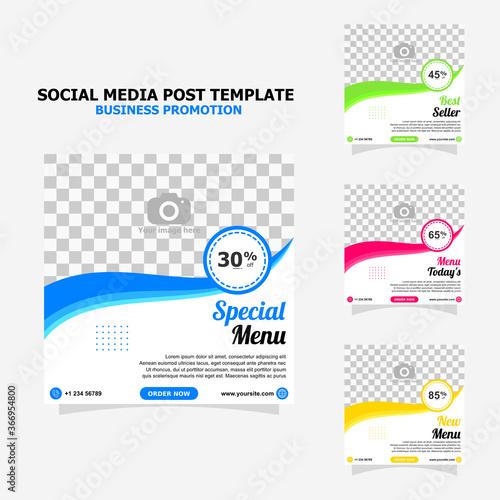 Vászonkép social media for your food business promotion set full colour template style fou
