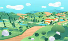 Country Landscape With Ricefield And Houses In The Hill Vector Illustration