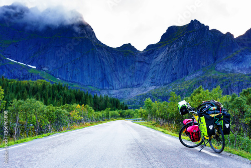Valokuvatapetti LOFOTEN, NORWAY - SEPTEMBER 10, 2019:  Heavy loaded bicycle with panniers and ba