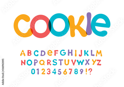 Fototapeta Color font for bright packaging design for cookies, snacks and sweets. Children font for kids holidays and toys. Vector typography. obraz